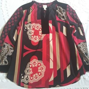 Chicos Long Sleeve Multicolored Blouse Sz 2